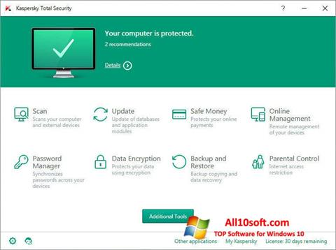 स्क्रीनशॉट Kaspersky Total Security Windows 10