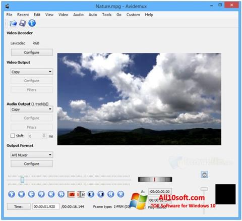 स्क्रीनशॉट Avidemux Windows 10