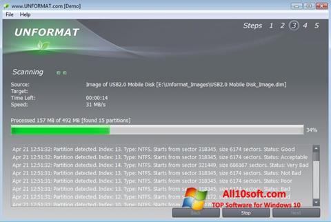 स्क्रीनशॉट UNFORMAT Windows 10