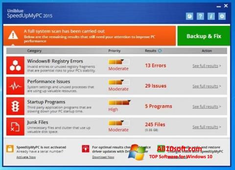 स्क्रीनशॉट SpeedUpMyPC Windows 10