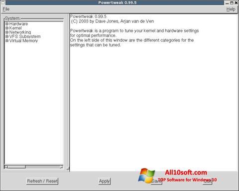 स्क्रीनशॉट PowerTweak Windows 10