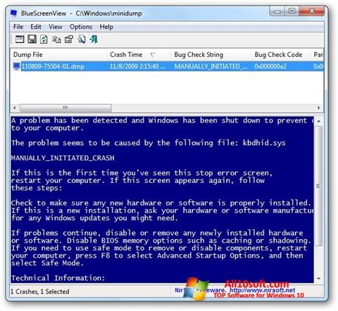 स्क्रीनशॉट BlueScreenView Windows 10