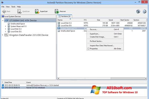स्क्रीनशॉट Active Partition Recovery Windows 10