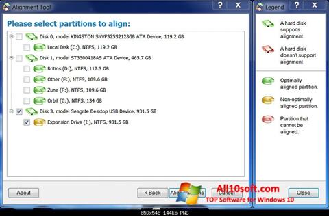स्क्रीनशॉट Paragon Alignment Tool Windows 10
