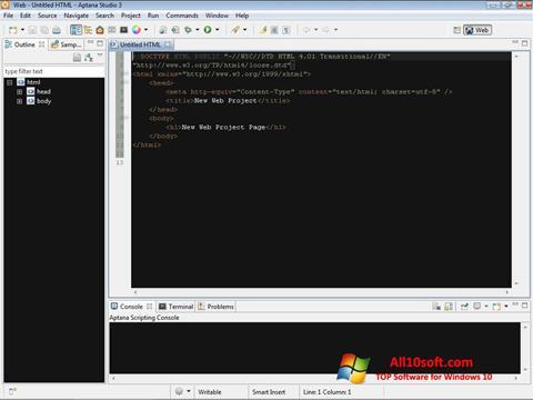 स्क्रीनशॉट Aptana Studio Windows 10