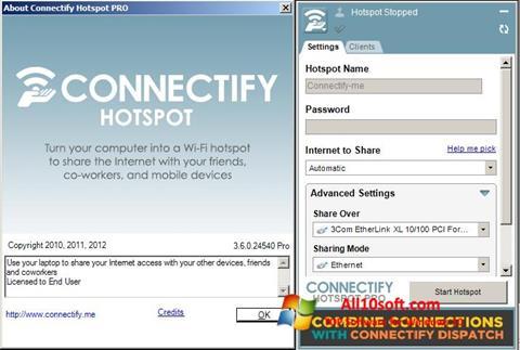 स्क्रीनशॉट Connectify Hotspot Windows 10