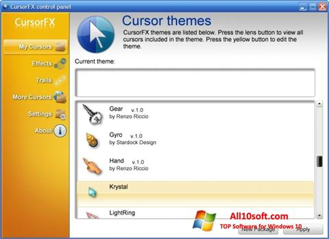 स्क्रीनशॉट CursorFX Windows 10