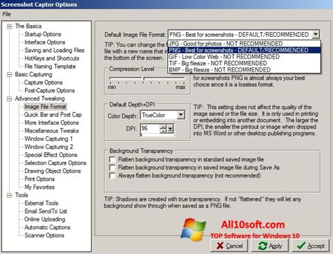 स्क्रीनशॉट Screenshot Captor Windows 10