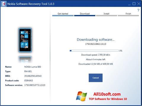 स्क्रीनशॉट Nokia Software Recovery Tool Windows 10