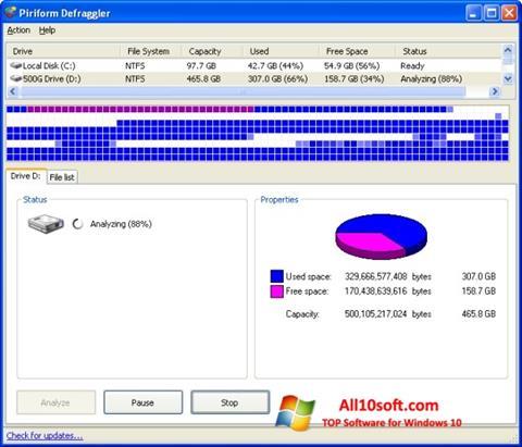 स्क्रीनशॉट Defraggler Windows 10