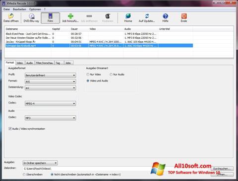 स्क्रीनशॉट XMedia Recode Windows 10