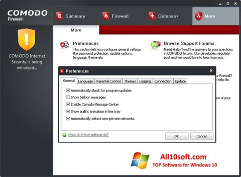 स्क्रीनशॉट Comodo Firewall Windows 10