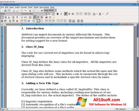 स्क्रीनशॉट AbiWord Windows 10