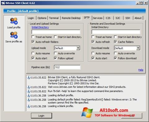 स्क्रीनशॉट Bitvise SSH Client Windows 10