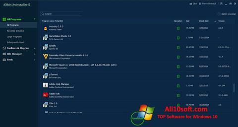 स्क्रीनशॉट IObit Uninstaller Windows 10