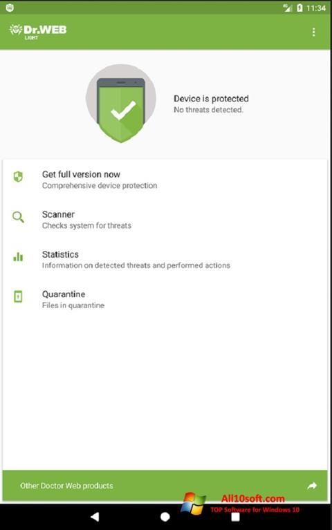 स्क्रीनशॉट Dr.Web Light Windows 10