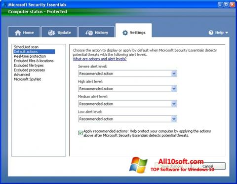 स्क्रीनशॉट Microsoft Security Essentials Windows 10