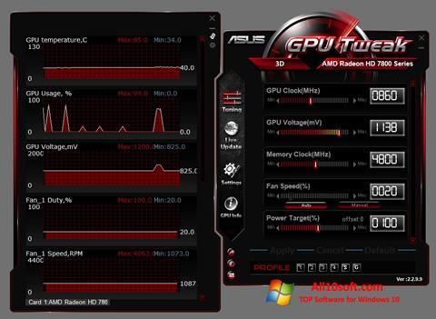 स्क्रीनशॉट ASUS GPU Tweak Windows 10